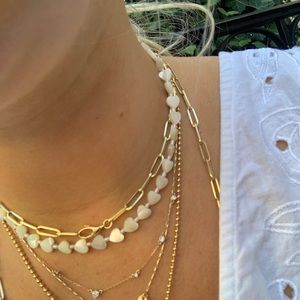 Mother of pearl handmade heart choker necklace